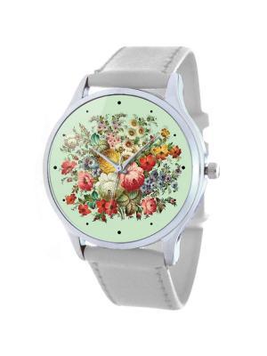 Дизайнерские часы Светлый Узор Tina Bolotina. Цвет: салатовый, белый, красный
