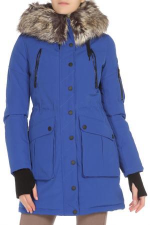 Полуприлегающая куртка с отделкой из меха BCBG. Цвет: 418, cobalt