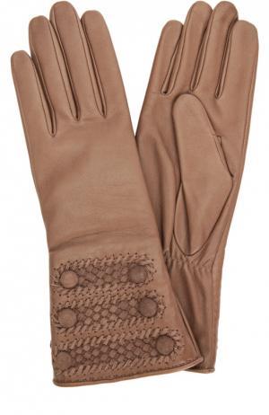Кожаные перчатки с декоративной отделкой Agnelle. Цвет: темно-бежевый