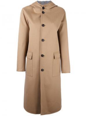 Однобортное пальто с капюшоном Mackintosh. Цвет: телесный