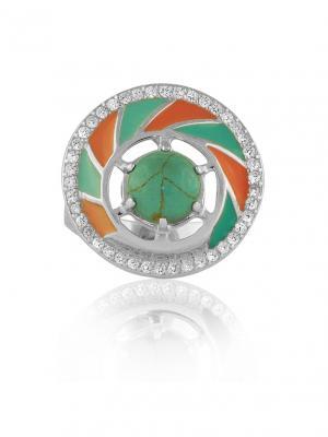 Кольцо Карусель KU&KU. Цвет: бирюзовый, коралловый, серебристый