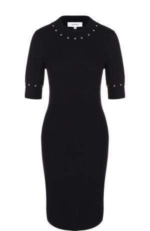 Облегающее шерстяное платье с коротким рукавом Carven. Цвет: темно-синий