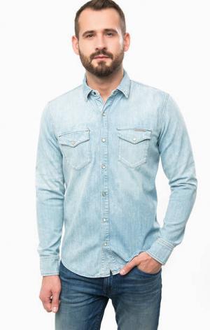 Джинсовая рубашка с нагрудными карманами Calvin Klein Jeans. Цвет: синий