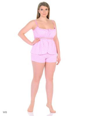 Пижама-топ, шорты NAGOTEX. Цвет: розовый