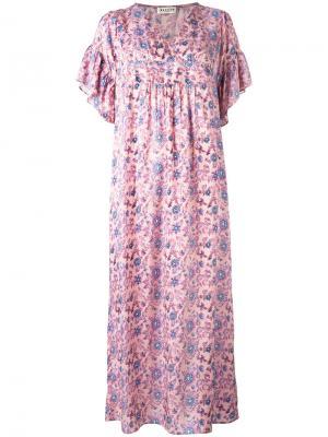 Платье с цветочным принтом Masscob. Цвет: розовый и фиолетовый