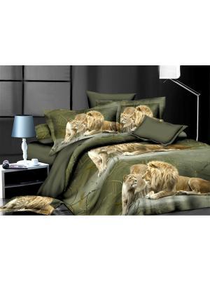 Комплект постельного белья  1,5 ДомВелл сатин СН11 Львы. Цвет: зеленый