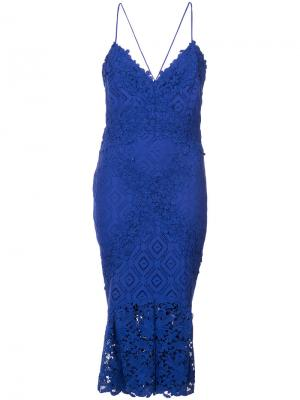 Платье с вышивкой Nicole Miller. Цвет: синий