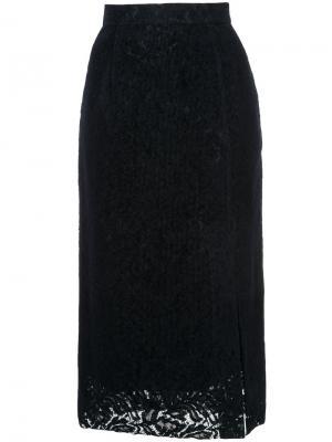 Кружевная юбка миди Cityshop. Цвет: синий