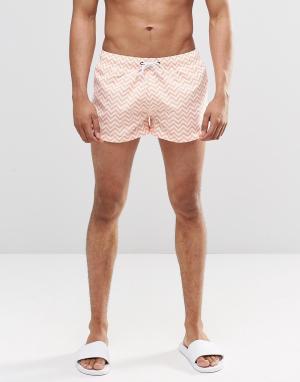 Swells Короткие шорты с принтом зигзаг. Цвет: оранжевый