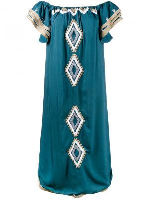 Платье с открытыми плечами All Things Mochi. Цвет: синий