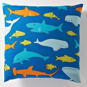 Наволочка детская из 100% хлопка, FISH GANG La Redoute Interieurs. Цвет: синий/ оранжевый