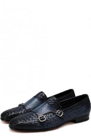 Кожаные монки с плетением Santoni. Цвет: темно-синий
