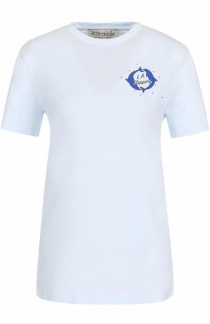 Футболка прямого кроя с принтом Etre Cecile. Цвет: голубой