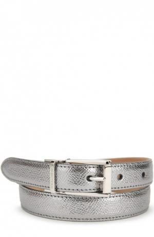Ремень из металлизированной кожи Dolce & Gabbana. Цвет: серебряный