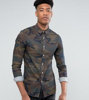 ASOS Джинсовая рубашка скинни с камуфляжным принтом TALL. Цвет: коричневый