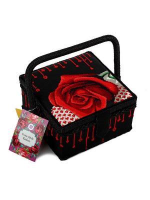 Шкатулка с вышивкой на пластиковой канве Матренин Посад. Цвет: красный