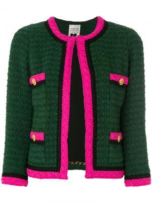 Твидовый пиджак с контрастной отделкой Edward Achour Paris. Цвет: зелёный