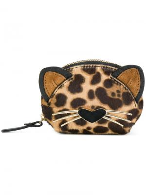 Кошелек для монет в форме кошки Kate Spade. Цвет: коричневый