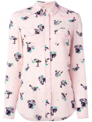 Рубашка с принтом птиц Coach. Цвет: розовый и фиолетовый