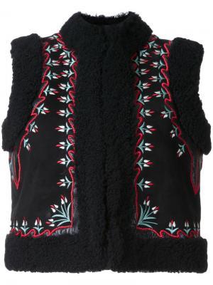 Жилет с вышивкой цветочным узором Vilshenko. Цвет: чёрный