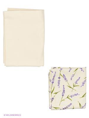 Скатерть Лаванда 120х170 см.  с дорожкой 40х170 см T&I. Цвет: кремовый