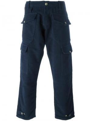 Брюки-карго с карманами Bleu De Paname. Цвет: синий