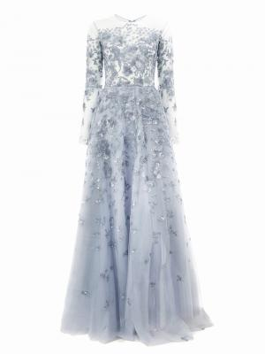 Sequin embroidered tulle gown Zuhair Murad. Цвет: синий
