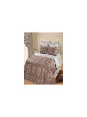 Комплект постельного белья из тк.Сатин в подарочной упаковке Кристалл Арт Постель. Цвет: коричневый, серый