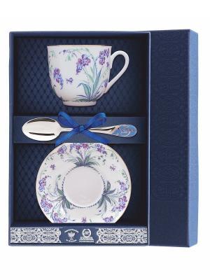 Набор чайный Ландыш-Незабудки 3 предмета + футляр АргентА. Цвет: серебристый, синий