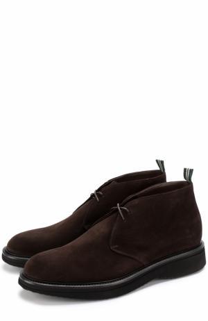 Замшевые ботинки на шнуровке Green George. Цвет: темно-коричневый