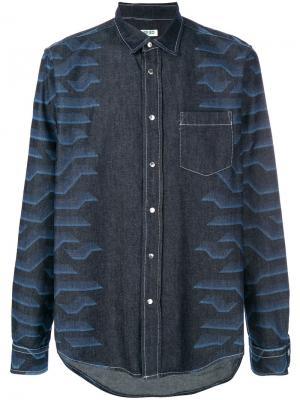 Джинсовая рубашка с абстрактным принтом Kenzo. Цвет: синий