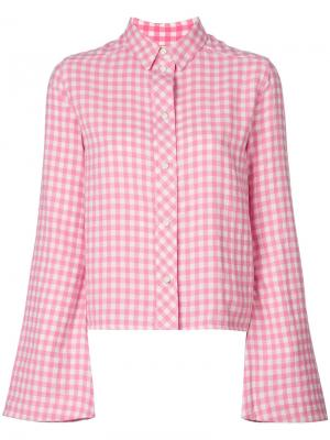 Рубашка с расклешенными рукавами в клетку гингем Filles A Papa. Цвет: розовый и фиолетовый