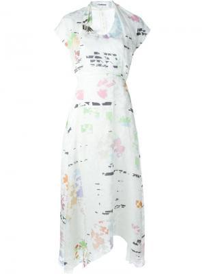 Длинное платье со сборками на талии Chalayan. Цвет: красный