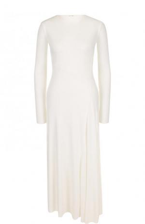 Однотонное платье-миди с длинным рукавом The Row. Цвет: белый