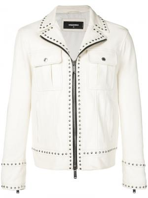 Байкерская куртка на молнии Dsquared2. Цвет: белый