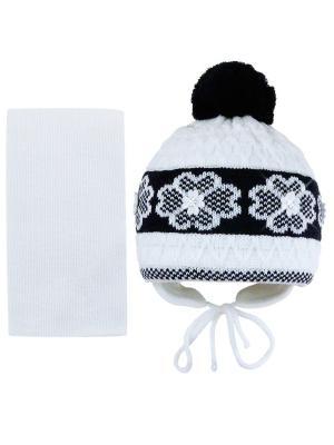 Шапка и шарф Grans. Цвет: белый, темно-синий