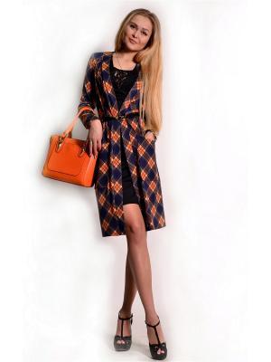 Кардиган женский FRANCESCA LUCINI. Цвет: темно-синий, оранжевый