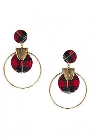 Серьги-кольца с текстильным декором Lisa Smith. Цвет: multicolor
