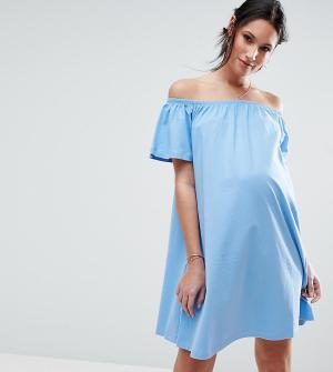 ASOS Maternity Платье мини для беременных с открытыми плечами. Цвет: синий