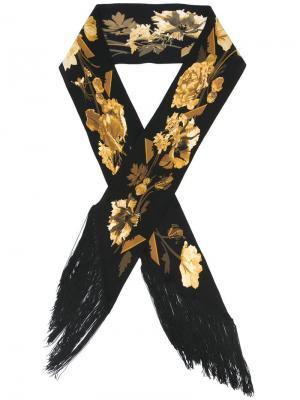 Платок с цветочным узором и бахромой Rockins. Цвет: чёрный