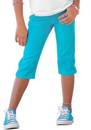 Джинсы-капри для девочек, Arizona. Цвет: бирюзовый
