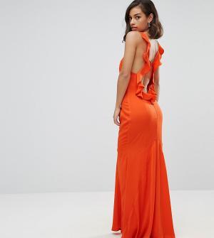 Jarlo Petite Платье макси с открытой спиной и оборкой. Цвет: оранжевый