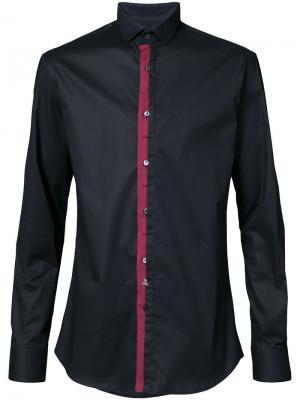 Рубашка с контрастной окантовкой Philipp Plein. Цвет: чёрный