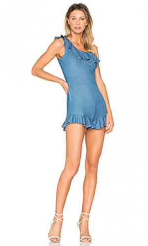 Джинсовый комбинезон-шорты issy Karina Grimaldi. Цвет: синий