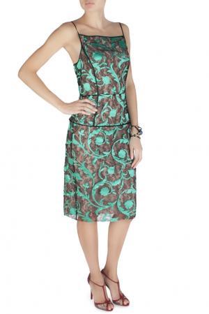 Платье из вискозы Jonathan Saunders. Цвет: черный, зеленый, разноцветный