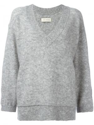 Loose-fit sleeves V-neck jumper By Malene Birger. Цвет: серый