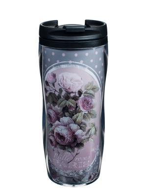 Кружка-непроливайка пластиковая 13,5x18 см,  Тысяча роз Парижа Orval. Цвет: черный, серый, розовый