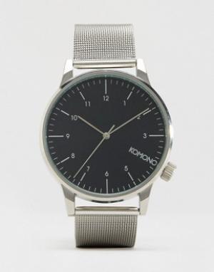 Komono Серебристые часы с сетчатым браслетом Winston Royale. Цвет: серебряный
