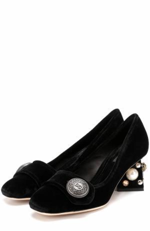 Бархатные туфли Jackie на декорированном каблуке Dolce & Gabbana. Цвет: черный
