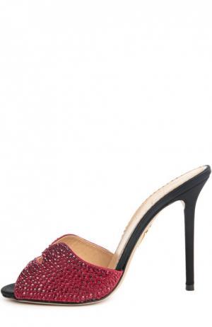 Сатиновые босоножки Kiss My Feet на шпильке Charlotte Olympia. Цвет: красный